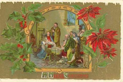 vintage-christmas-card-jesus-mary-and-joseph-wise-men-poinsettias