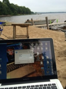 writing at beach 2014